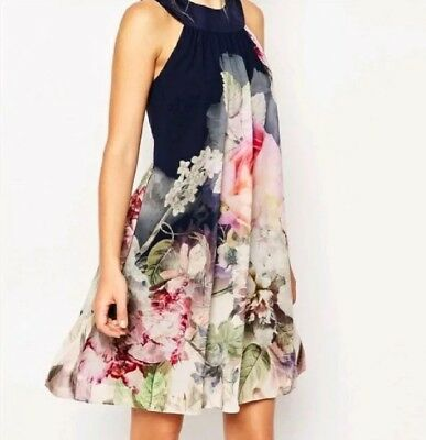 TED BAKER Floral Shift Cocktail Dress 12L Blue Pink Sleeveless Party NWT