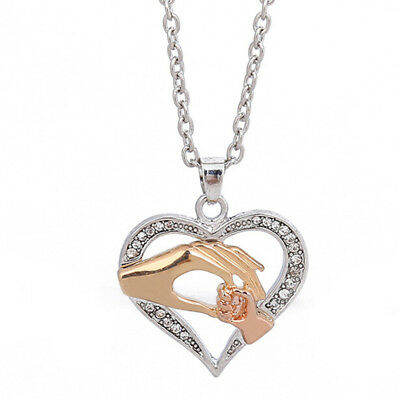 New Mom Child Heart Pendant Chain Family Love Necklace Mothers Day Jewelry RS