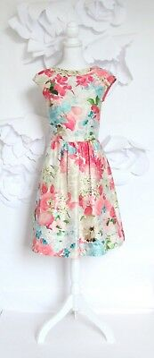 CYNTHIA STEFFE NEW Floral A-Line Cocktail Dress 6M PinkBlue Fit - Flare