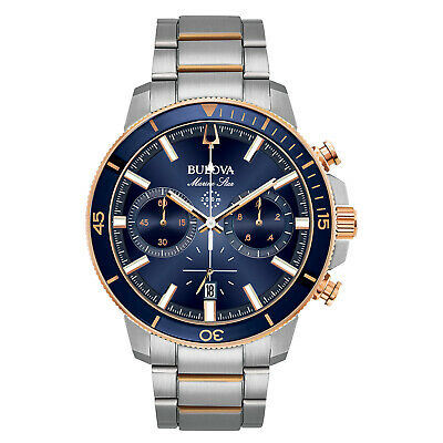 Bulova Marine Star Mens Quartz Chronograph Rose Gold Tone 45mm Watch 98B301