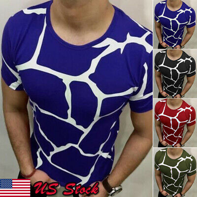 Stylish Mens Tee Shirt Slim Fit O-Neck Short Sleeve Muscle Casual Tops T Shirts