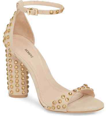 SCHUTZ Womens Marcelle Oyster Leather Suede High Block Heel Sandals Size 8-5