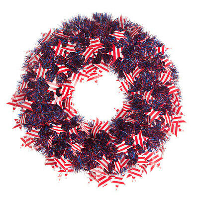 Darice Fourth of July Patriotic Wreath Tinsel 20 inches w