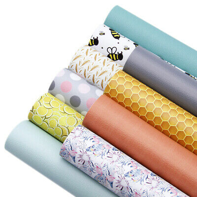 2034 cm Geometric Printed  Litchi Synthetic Leather Fabric Sheets DIY  Craft