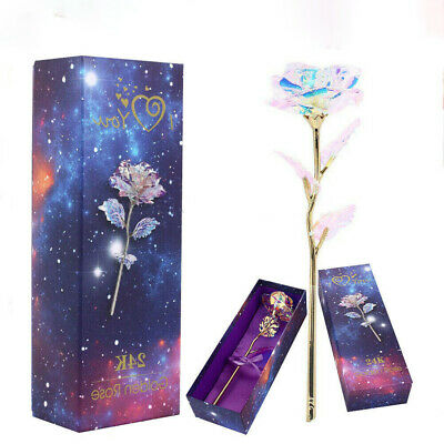 LED Galaxy Rose Flower Valentines Day Gift Romantic Crystal Rose With Box