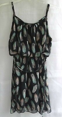 Wet Seal Black with GrayTeal Feathers Dress Size Small Juniors