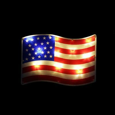 13-25 LED Lighted Patriotic 4th of July American Flag Window Silhouette w