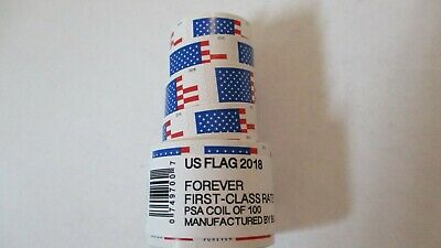 200 USPS FOREVER STAMPS US FLAG COIL FIRST CLASS POSTAGE 2 ROLL OF 100