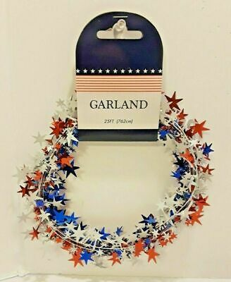 4th of July PATRIOTIC Election Party Decor 25 ft Star Garland Red White Blue W