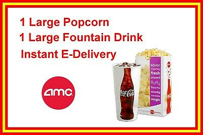 AMC Theatres LARGE Popcorn and 1 LARGE Drink exp- 63020 Instant delivery