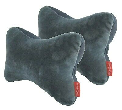 2pk Dog Bone Micro Bead Car Seat Head Rest Support Pillow Neck Shoulder Pain Gry