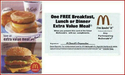 5x - McDonalds Free Extra Value Meal Combo - Great Savings Gift Certifcate