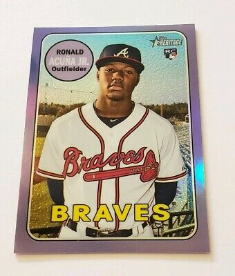 2018 Ronald Acuna Jr- Topps Heritage Purple Refractor Rookie Rc 580 NICE