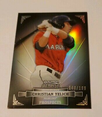2012 Christian Yelich Bowman Sterling Black Refractor Rookie Rc 140199 NICE