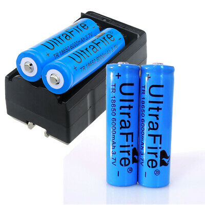4X Ultrafire 18650 Battery 3-7V 6000mAh Li-ion Rechargeable Batteries - Charger