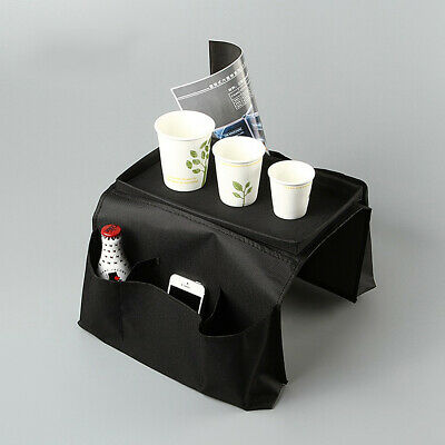 US 6 Pocket Sofa Arm Rest Organizer Caddy Couch Tray Remote Control Holder Table