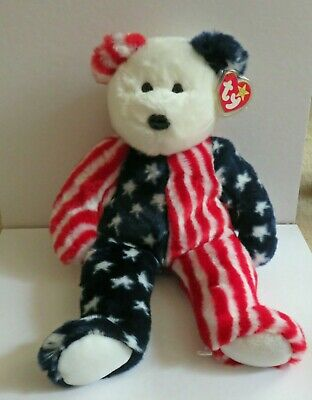 Fourth of July Americana Ty Buddy  Plush Bear Named Spangle 14