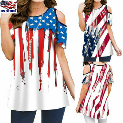 Womens American Flag Shirt 4th of July Cold Shoulder Tank Top T Shirt Blouse US