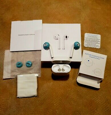 Apple AirPods w Charging Case - White - Bluetooth - Wireless - w blue sleeves