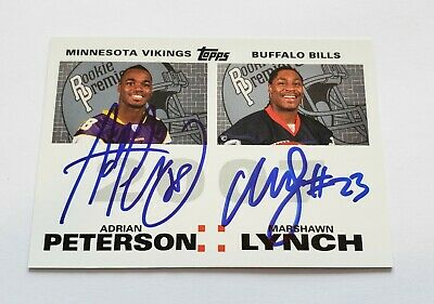 2007 Adrian Peterson Marshawn Lynch Topps Premiere Dual Auto Rookie Rc NICE