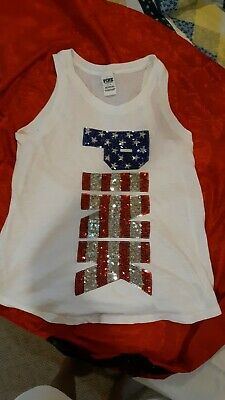 Victoria's Secret Pink Small Sequin Fourth Of July Tank Patriotic