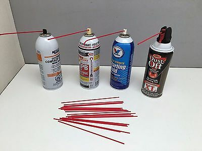 20 7 Replacement Aerosol Spray Can Red Straws Tubes Oil Cleaner Auto LPS WD40