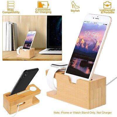 Bamboo Multi-device Organizer Phone - Watch Stand Holder Charging Station Dock