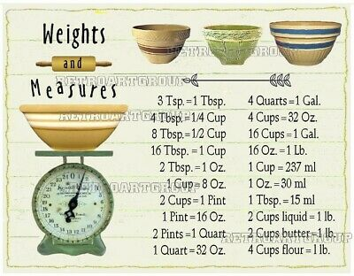 Weights and Measures conversion Yellow Ware Bowls vintage Kitchen Scale magnet