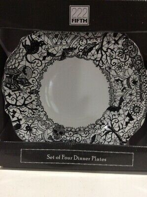 222Fifth Wiccan Lace Halloween 4 New In Box Dinner Plates