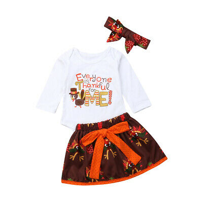 My 1st Thanksgiving Newborn Baby Girl Romper Fancy Tutu Dress Outfits Clothes US