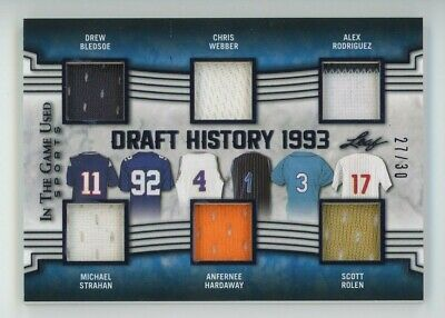 2019 Alex Rodriguez Strahan Leaf In The Game Draft 1993 Game Worn Patch 2730