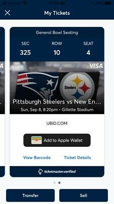 2 TICKETS NEW ENGLAND PATRIOTS VS PITTSBURGH STEELERS 9/8 NIGHT GAME!