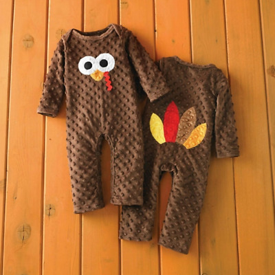 US Newborn Kid Baby Girl Boy Thanksgiving Romper Jumpsuit Pajamas Outfit Clothes