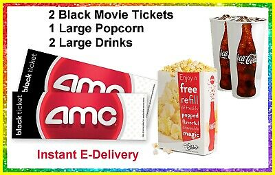 2 Black Movie Tickets 1 Large Popcorn 2 Drinks AMC Theaters- delivered instantly