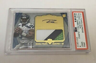 2012 Russell Wilson PSA 9 Topps Supreme 3 Color Patch Auto Rookie Rc 15 NICE