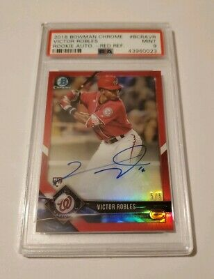 2018 Victor Robles PSA 9 Bowman Chrome Red Refractor Auto Rookie Rc 55 NICE