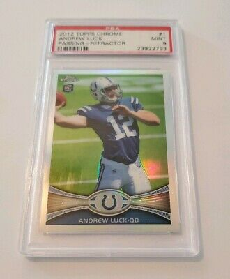 2012 Andrew Luck PSA 9 Topps Chrome Refractor Rookie Rc 1 NICE