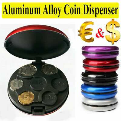 Euro Coins Storage Purse Wallet Box Alloy Coin Dispenser Plastic Round Holders