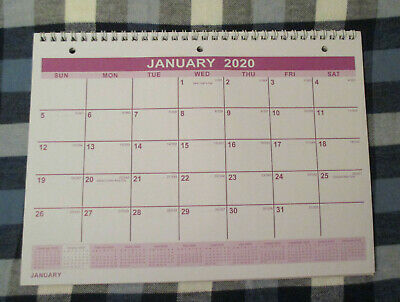 2020 SPIRAL 3-Hole HANGING MONTHLY WALL 11X8 Calendar 012020 to 012021 Purple