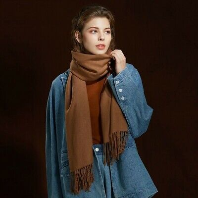 Womens Warm Shawl Autumn Winter Large Tassel Wool Knitted Cashmere Long Scarf