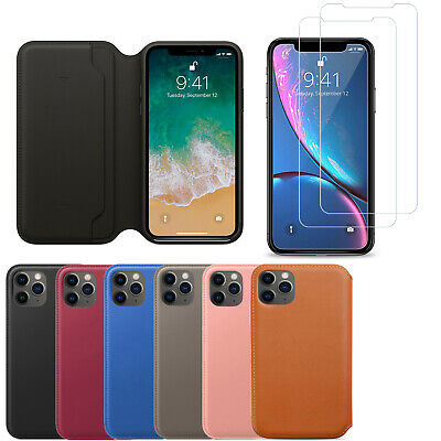 Leather Flip Wallet Case Tempered Glass Cover For iPhone 11 Pro Max XS XR 8 7 6s