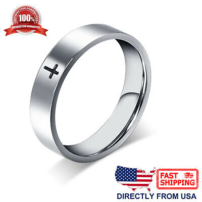 Stainless Steel Cross Ring Polished Comfort Fit Mens - Womens Wedding Band