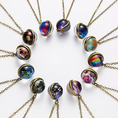 Glow in the Dark Galaxy Universe Stars Double Sided Glass Dome Planet NecklaceUS