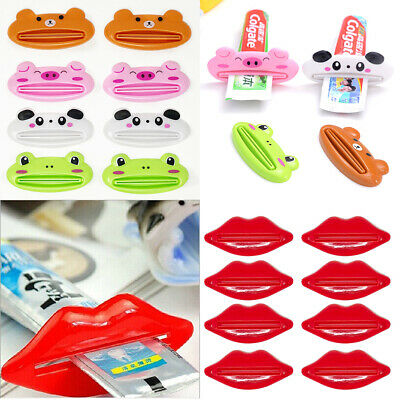 US 8 Pack Dispenser Squeeze Tube Squeezer Easy Toothpaste Animal Lip Roll