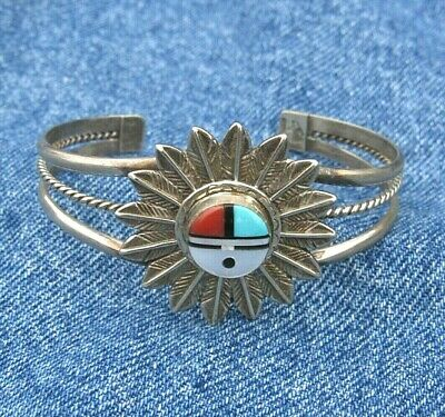 Native American Sterling Silver Turquoise SUNFACE Cuff Bracelet Running Bear RB