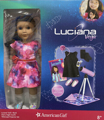 NEW American Girl 18 inch Luciana Doll BookTelescopeOutfitBoots Accessories