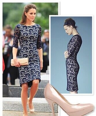 Lk Bennett Ward our Dress Size8 Navy Lace Overlay Kate Middleton RRP £350