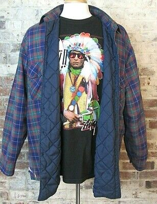 Dickies Quilted Insulated Flannel Multicolor Plaid Button Shirt Mens XL Grunge