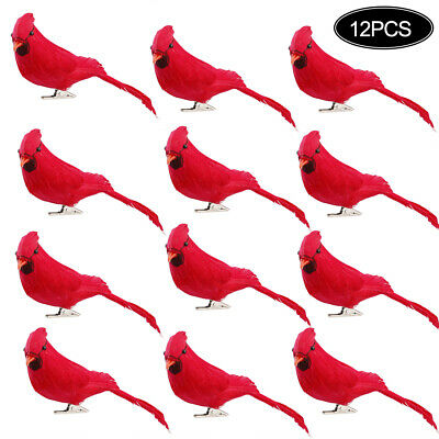 12pcs Clip on Vintage Red Artificial Bird Foam Feather Christmas Tree DIY Decor
