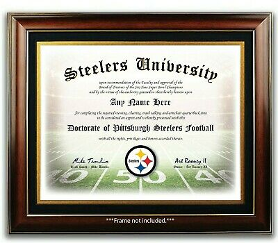 PITTSBURGH STEELERS NFL Football Fan Certificate  Diploma Man Cave GIFT Xmas